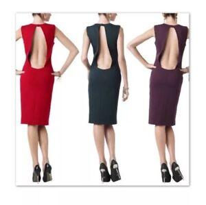 Monika-Chiang-Navy-Blue-Power-Knit-Bodycon-Backless-Dress-Size-2