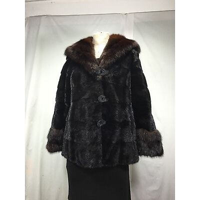RARE EXPENSIVE RUSSIAN FARMED SABLE FUR LINED LADY HOODIE WITH U S BLACK MINK