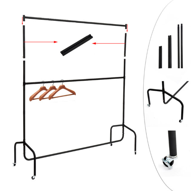 "Heavy Duty 6FT Clothes Garment Rail Dress Hanging Stand Rack+12"" Extension Poles"