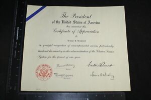WWII-PRESIDENT-ROOSEVELT-FDR-CERTIFICATE-OF-APPRECIATION-SELECTIVE-SERVICE-SYS