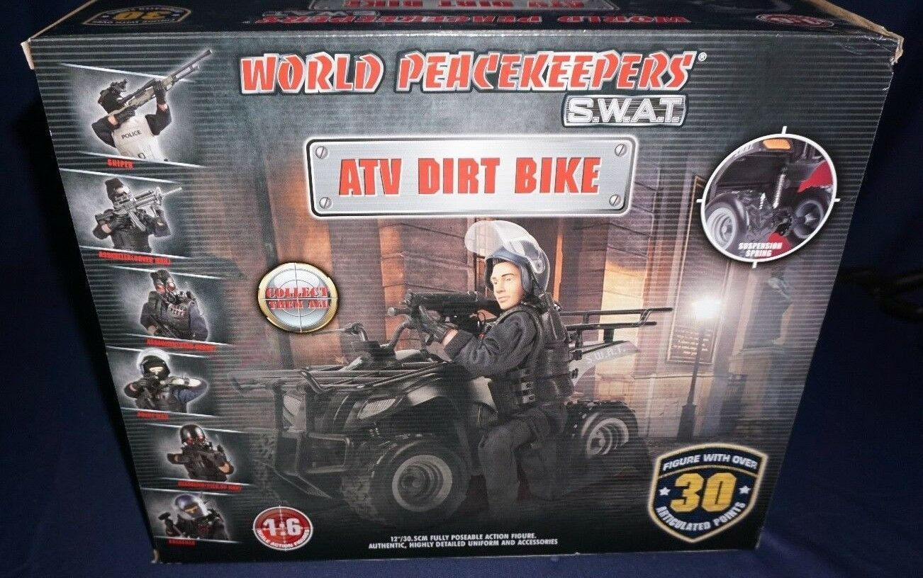 SWAT ATV Dirt Bike with Man 1 6 6 6 Scale  -Brand  New In Box d682a8