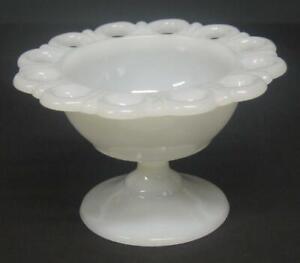 Vintage-small-white-milk-glass-compote-pedestal-bowl-planter-3-1-4-034-h-loop-edge