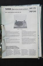 SABA Record Player PSP 240 Service-Instruction/Manual/Diagram/Schaltplan o34