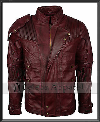 Guardians Of The Galaxy 2 Chris Pratt Peter Quill Star Lord Leather Jacket Mens