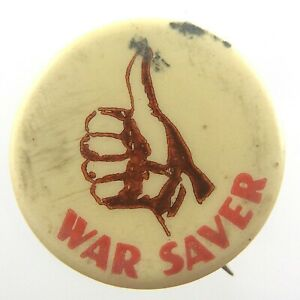 Vintage WWII War Saver Club Thumbs Up Pinback Button Stanley Toronto N474