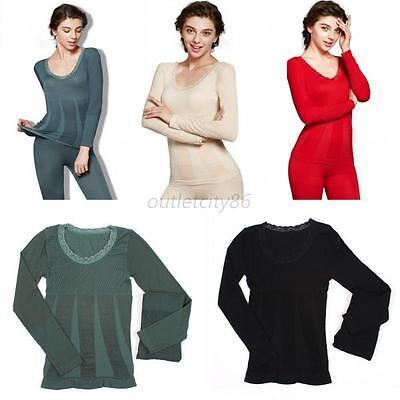 Womens Fleece Lined Thermal Top Bottom Long John Pajamas Underwear Set Hot O30