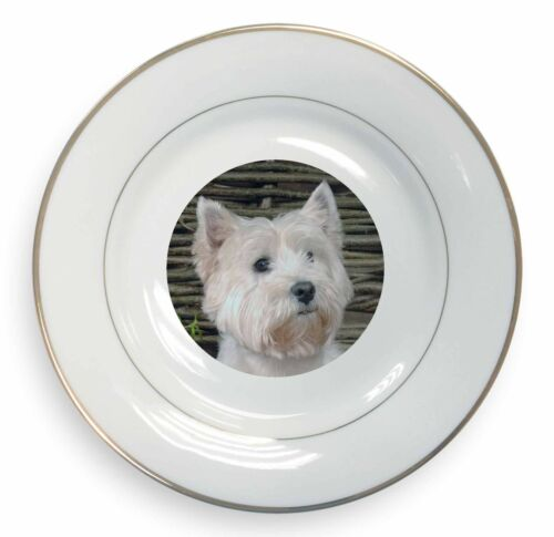 West Highland Terrier Dog Gold Rim Plate in Gift Box Christmas Present AD-W33PL