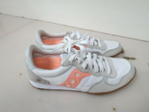WOMENS SAUCONY BULLET WHITE GRAY PEACH RUNNING SHOES SIZE 7M T235