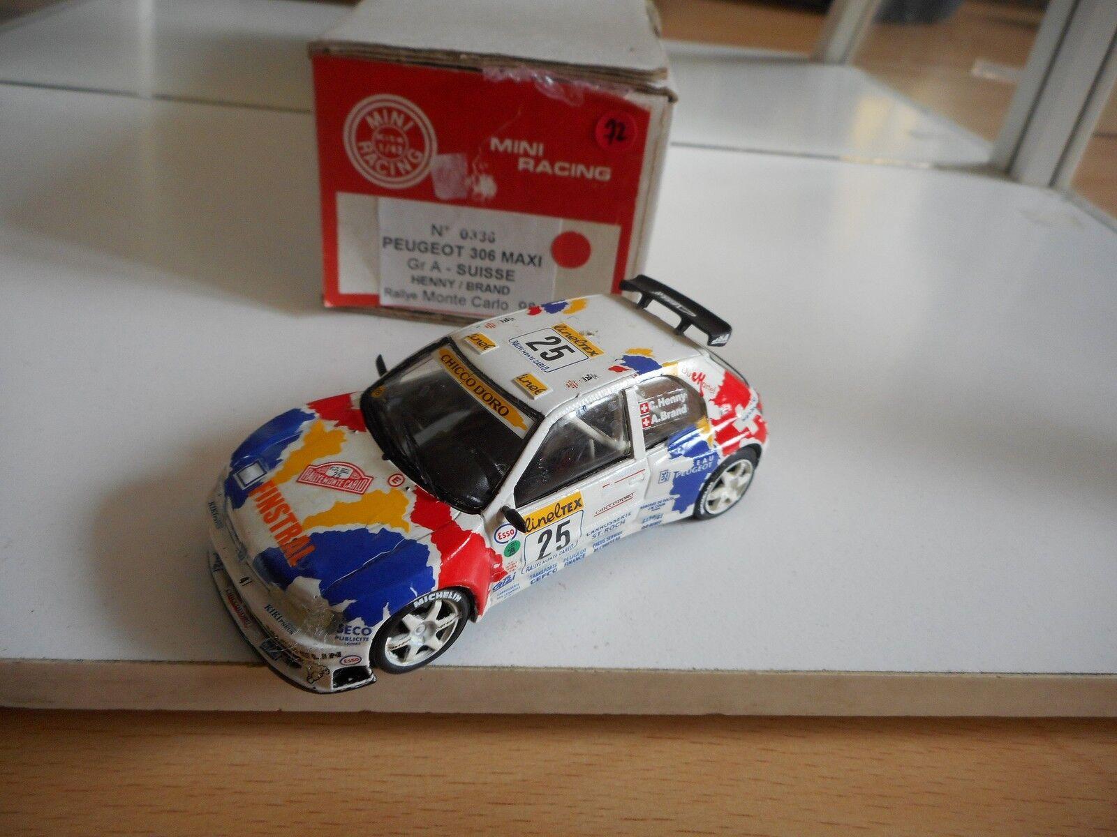 Mini Racing Peugeot 306 Maxi GR A. Rally monte Carlo 98 in blanc on 1 43 in Box
