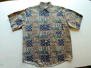 SUPREME-X-Vintage-Mens-Short-Sleeve-Button-Down-Casual-Shirt-Size-Md-Aztec-EUC