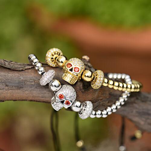 Luxe Hommes Femmes Manchettes Zircon Crâne Couronne Multi-style Bouchons réglable bracelets