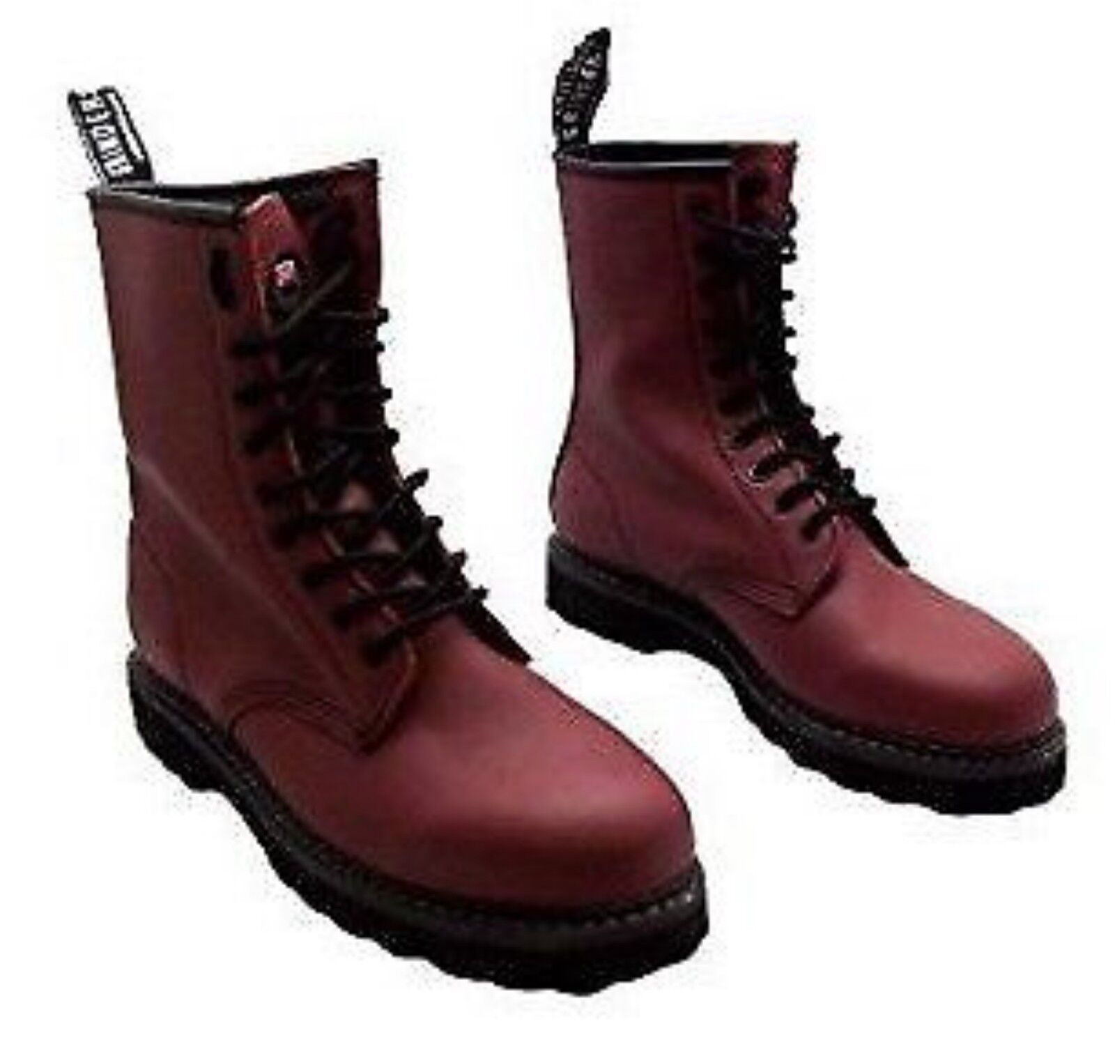 Grinders Albert Red Cherry Leather Combat Boots 8 Eyelet  Derby Boot Punk
