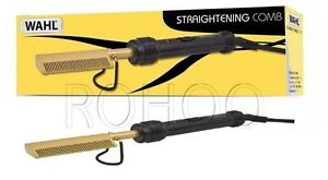 Wahl-Afro-Mains-Electric-Straightening-Comb-Gold-Black-ZX698-UK-THREE-PIN-PLUG