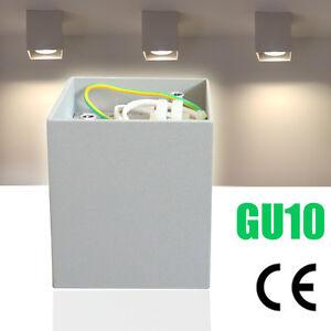 LED-Aufbaustrahler-Downlight-Deckenlampe-Wandleuchte-Lampe-GU10-CE-230V-Silber