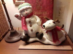 Hallmark Singing Snowman barking Reindeer Dog tested works sings jingle bells