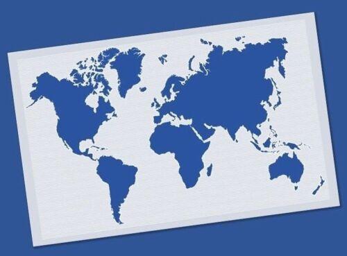 Plantilla Reutilizable Mapa Mundial Atlas-Aerógrafo de Manualidades Decoración Pared Arte Lona