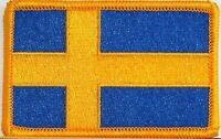 Sweden Flag Military Patch W/ Velcro® Brand Fastener Gold Emblem 8