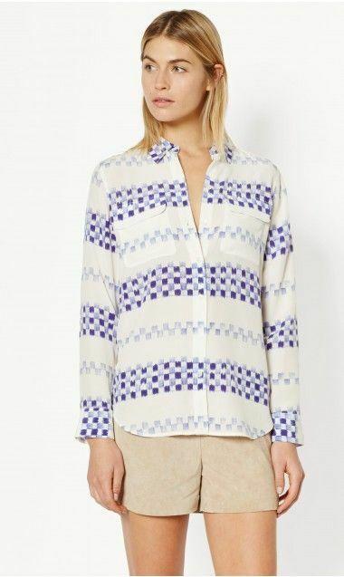 NWT Equipment Slim Signature Silk Shirt Blouse Nature White bluee Size S