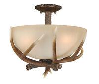 3 Light Rustic Lodge Faux Antler Semi Flush Ceiling Lighting Fixture