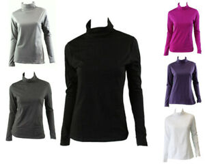 Women-039-s-Cotton-Skivvy-Turtleneck-Long-Sleeve-Top-High-Neck-Basic-Plain-Core