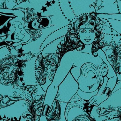 Camelot Cottons Girl Power 23400408 4 Teal Tonal Comics Cotton Fabric