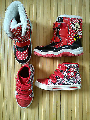 2x nice MINNIE MOUSE autumn winter bundle girl boots trainers size 10 size 11