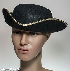 eb2a7821213 Colonial Tricorn Hat Men s 18th Century Black Felt Costume Hat Large ...