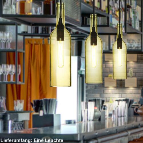 Design Decken Hänge Glas Lampe gelb Wohn Schlaf Zimmer Flaschen Pendel Leuchte