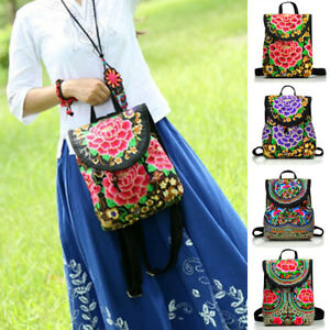 bd7d1dcd9ca4 La foto se está cargando Women-039-s-Floral-Embroidered-Backpack-Ethnic- Travel-