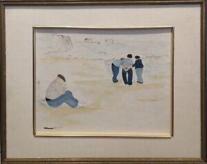 Tableau-peinture-Cadre-20em-XXem-Signe-Realisme-Pays-Basque-Pecheurs-aquarelle