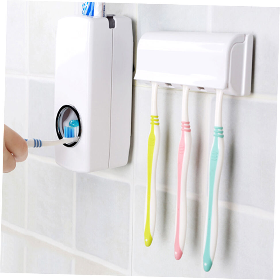 Bathroom suction toothbrush wall mount toothpaste dispenser stand holder storage ebay