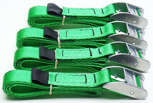 4-pack-of-1-0m-TOUGH-Cam-Straps-Green-Small-Tie-down-Cargo-Lashings
