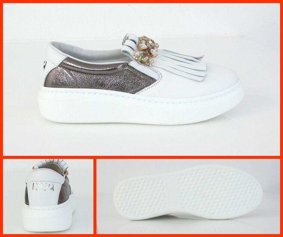 NU2 Schuhe   Sportschuhe Frau Slip On ALICE-227 T52 Col.bianco   Grau Met Sommer