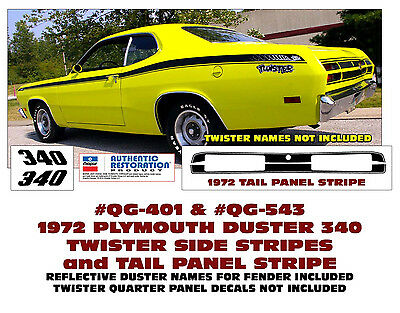 1972 Plymouth Duster 340 w//Eyeballs COMPLETE Decals /& Stripes Kit
