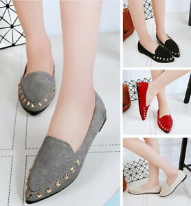 Women-039-s-Girl-Pointed-Toe-Shoes-Ballet-Flats-Womens-Loafers-Low-Heel-Plus-Size-40