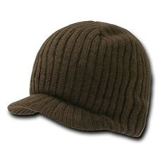 New Brown Solid Campus Visor Jeep Skull Knit Ski Winter Beanie Cap Caps Hat Hats