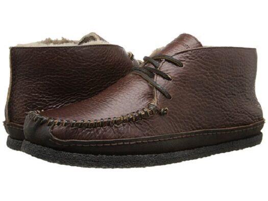 New Frye Porter Chukka Stiefel schuhe Shearling Lined Buffalo Leather Dark braun
