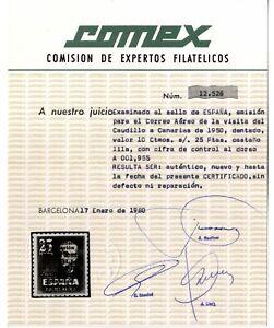 Sellos-de-Espana-1951-Visita-Caudillo-a-Canarias-1090-Certificado-Comex-ref-04