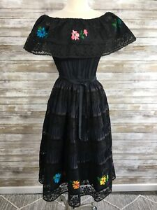 Details About Vtg Black Embroidered Mexican Dress Festival Lace Peasant Boho Off Shoulder Ml
