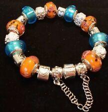 "European Charm Bracelet Turquoise Orange Love Murano Bead Pearl  Charm 7.5"""