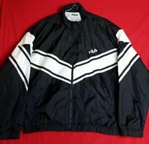 Vintage FILA 90's  NYLON ColorBlock Mens Jacket Size XXL -2XL Black white