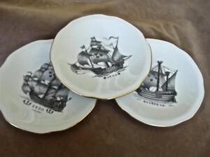 3-Vintage-Lidkoping-Sweden-Porcelain-Plates-w-Old-Ships-Galleons-3-Crown-Logo