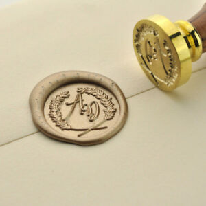 Personalized Wreath branches Initial Wax Seal Stamp Custom Wedding Logo 009