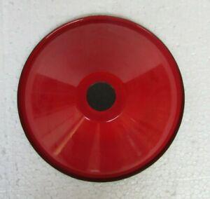 Vintage-Electrical-Light-Lamp-Shade-Red-Color-amp-White-Enamel-Porcelain