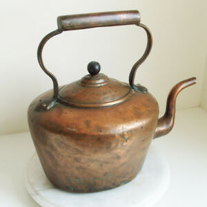 Large Vintage Copper And Brass Kettle