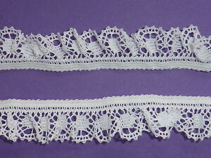 4-METRES-White-French-Cotton-Gathered-Stretch-Lace-Trim-1-5cm-TOP-SELLER
