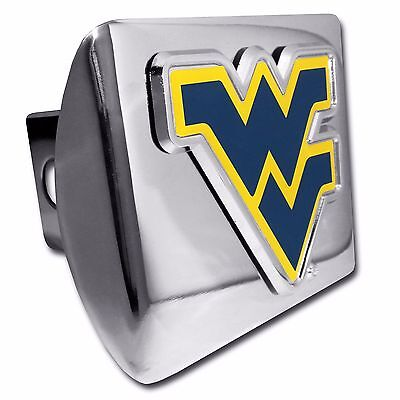 For 2 Receivers West Virginia Mountaineers Black Metal Trailer Hitch Cover with Chrome Metal Logo
