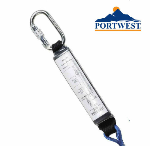 Portwest Crochet Chute Arrestation Sangle échafaudeur Double Terminé Cordon Karabiner FP51