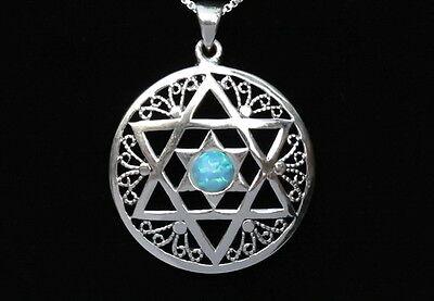 Magen Star of David Large Pendant Silver Filigree & Opal Necklace Jewish Charm
