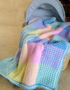 Coloured-Baby-Cot-Blanket-Knit-in-Strips-Aran-DK-Knitting-Pattern